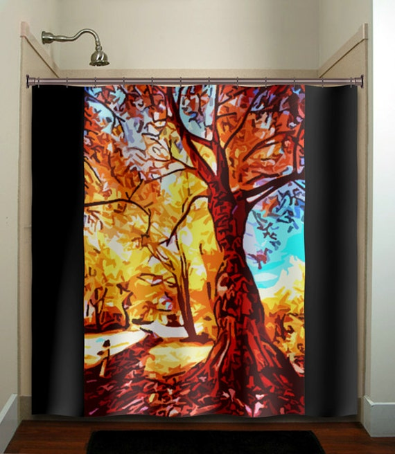 Items similar to autumn colors fall tree shower curtain for Fall bathroom sets