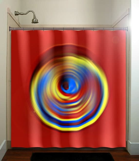 Yellow Blue Red Shower Curtain Bathroom Decor By Tablishedworks