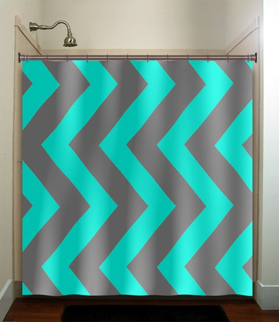 Turquoise aqua blue gray vertical chevron shower by for Turquoise and gray bathroom accessories