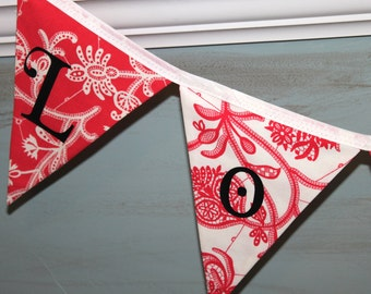 Large Fabric Bunting - Love in Red Grapefruit