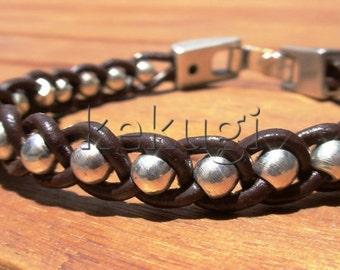 multi strap brown leather bracelet with silver plated  beads