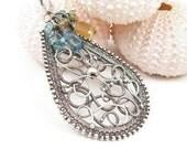 SALE 25% off  Wire wrap pendant , wirework jewelry , silver fine jewelry , sterling pednant , wire wrapped jewelry , gemstone pendant