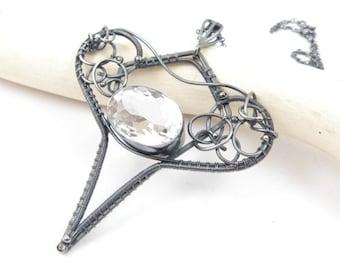 Wire wrapped bridal necklace, metalwork jewelry, wire wrap fine necklace, sterling silver necklace, white quartz necklace, gemstone jewelry