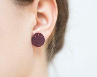 Burgundy Geometric Earrings Circle Leather Earrings studs