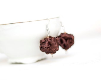 Brown  fabric bead Earrings, ruffled textile earrings, fabric jewelry, textile jewelry, dangle earrings, Unique Gift for Her