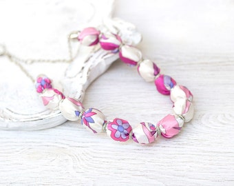 Pink and white fabric beads necklace SALE