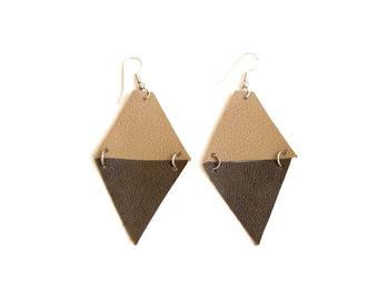 Olive green Geometric Leather Earrings, beige triangle earrings, arrow earrings, boho tribal earrings, gift for her