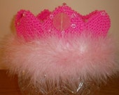 Handknit Girls Hot Pink with Feathers Princess Crown - FREE SHIPPING