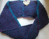 Handknit Teal-Purple Infinity Neck Cowl - FREE SHIPPING