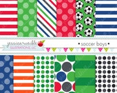 Soccer Boys Cute Digital Papers Backgrounds for Personal and Commercial Use, Soccer Patterns Soccer Backgrounds