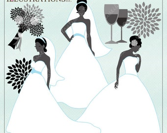 Bridal Silhouettes Elegant Digital Clipart for Card Design, Scrapbooking, and Web Design