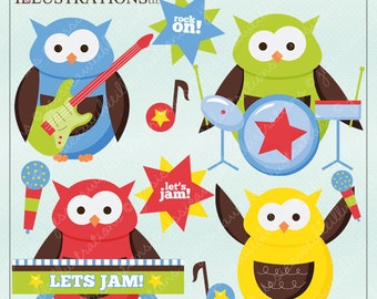 Boy Rock Band Owls Cute Digital Clipart for Card Design, Scrapbooking, and Web Design, Rockstar Clipart