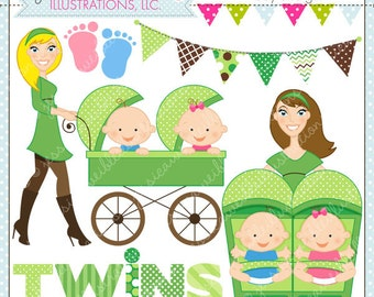 Strollin Double Boy and Girl Cute Digital Clipart for Commercial or Personal Use, TWIN BOY and GIRL Clipart, Twins Stroller