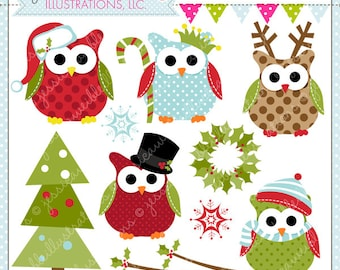 Christmas Owls Cute Digital Clipart for Commercial or Personal Use, Christmas Clipart, Christmas Graphics