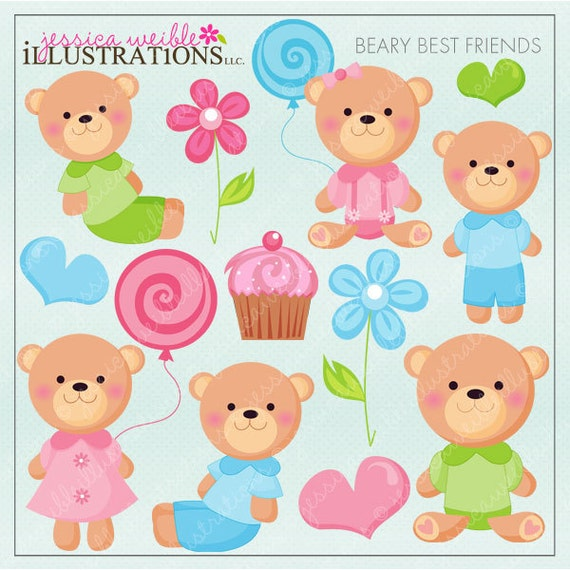 Beary Best Friends Cute Digital Clipart for Card Design, Scrapbooking, and Web Design