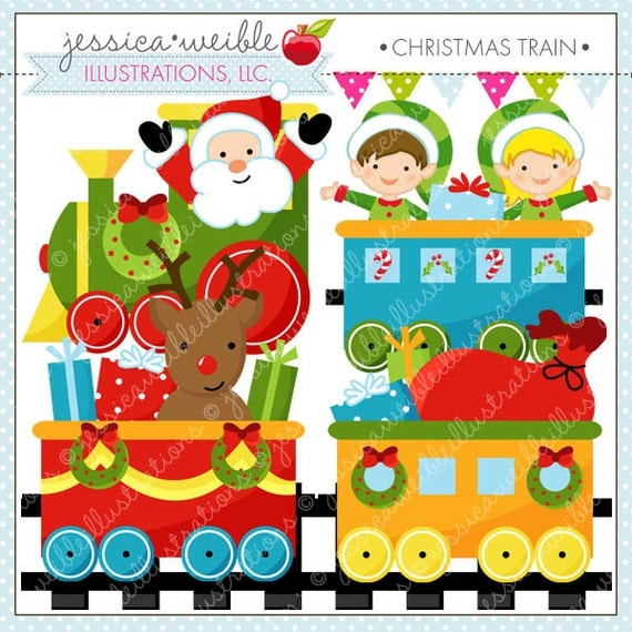 Christmas Train Cute Digital Clipart for Commercial or Personal Use, Christmas Clipart, Christmas Graphics