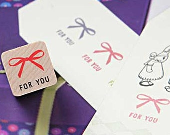 Ribbon & For You Stamp (0.75 x 0.75in)