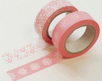2 Set - Peony Pink Adhesive Masking Tapes (0.6in)
