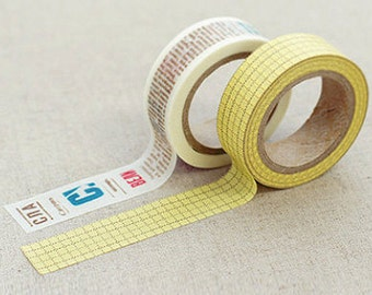 2 Set - Winni Mustard Check Words Adhesive Masking Tapes (0.6in)