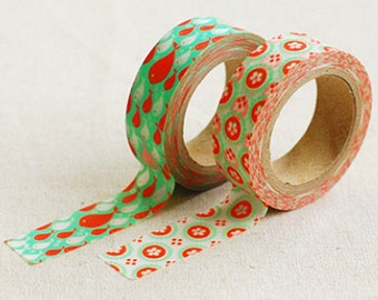 2 Set - Judy Red Fish Green Flower Adhesive Masking Tapes (0.6in)