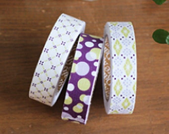 3 Set - Lucid Circle Light Grid Adhesive Fabric Tapes (0.6in)