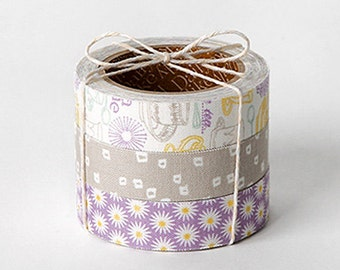3 Set - Tea Time Sugar Lilac Flower Adhesive Fabric Tapes (0.6in)