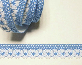 Flower Lace Adhesive Fabric Tape - Blue (1in)