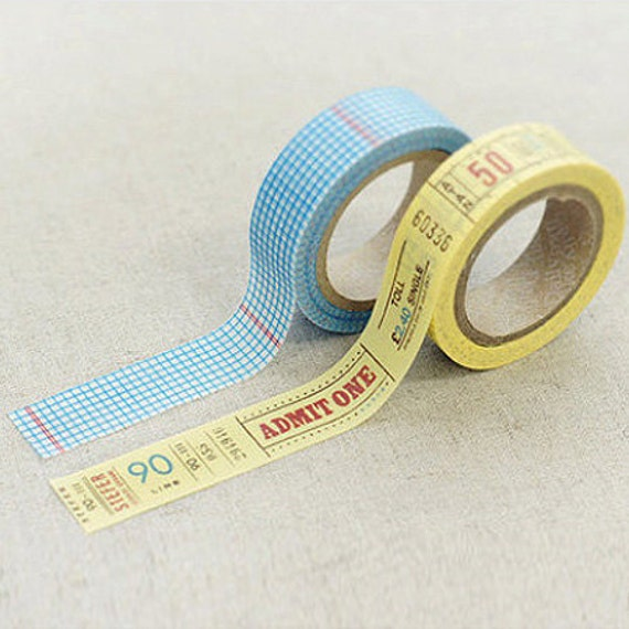 2 Set - Elin Blue Check Mustard Number Adhesive Masking Tapes (0.6in)