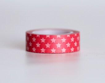 Red Stars Washi Tape-  Single Roll  15 mm x 10 m