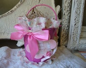 Pink Easter gift basket with gift tag altered bucket embellished pink floral metal bucket candy container Easter gifts for friend