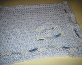 Crocheted Baby Blanket and Hat