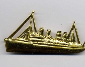 3 Ship Vintage Brass Metal Stampings