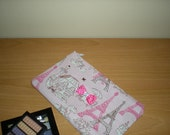 Makeup/cosmetic/pencil case pouch pink French inspired print polka dot inner fabric washable
