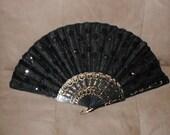 Vintage Black Beaded Folding Fan
