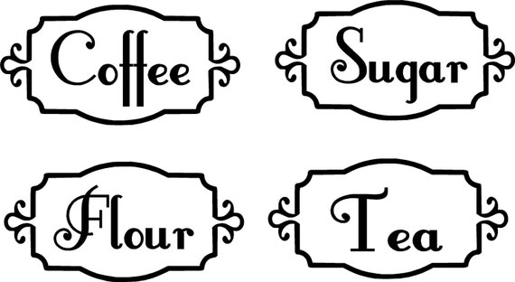 Items Similar To Kitchen Canister Labels Vinyl Decals