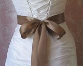 Double Face Brown Satin Ribbon, 1.5 Inch Wde, Milk Chocolate Bridal Sash, Latte, Cafe Au Lait Ribbon Sash, Wedding Belt, 4 Yards