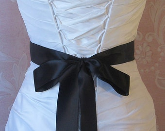 Double Face Black Satin Ribbon, 1.5 Inch Wde, Ribbon Sash, Bridal Sash, Wedding Belt, 4 Yards