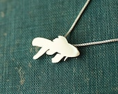 Tiny Goldfish necklace, sterling silver pendant, animal and nature hand made jewelry,