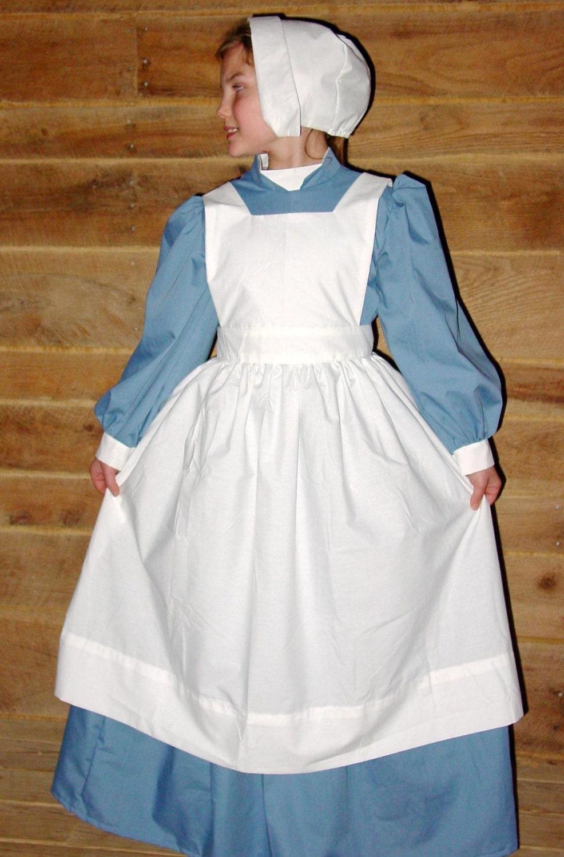 White pinafore apron nurse - Historical Pioneer Costume Clara Barton Nightingale Dusty Blue Civil War Nurse Child Sizes Up To 14