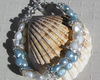 "Sky Blue & White Freshwater Pearl Bracelet ""Summer Sky"", White Bracelet, Blue Bracelet, Silver Bracelet, White Pearl, Blue Pearl, Quartz"