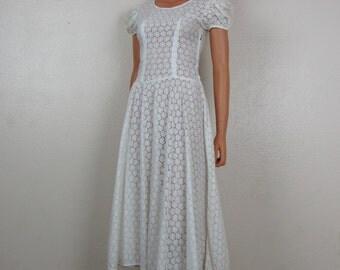 Vintage White Eyelet Swing Dress