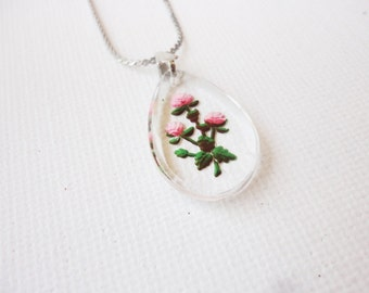 vintage roses necklace glass drop carved flower design silver tone chain
