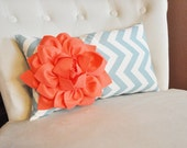 Lumbar Pillow Coral Dahlia on Blue and Natural Zig Zag Lumbar Pillow 9 x 16- Decorative Pillow