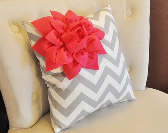 Hot Pink Corner Dahlia on Gray and White Zigzag Bedroom Pillow 14 X 14 -Chevron Flower Pillow- Zig Zag Pillows