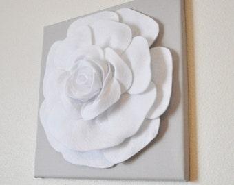 Rose Wall Hanging -White Rose on Solid Light Gray Canvas Wall Art- 3D Felt Flower