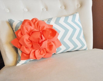 Lumbar Pillow Coral Dahlia on Blue and Natural Zig Zag Lumbar Pillow 9 x 16- Decorative Pillow