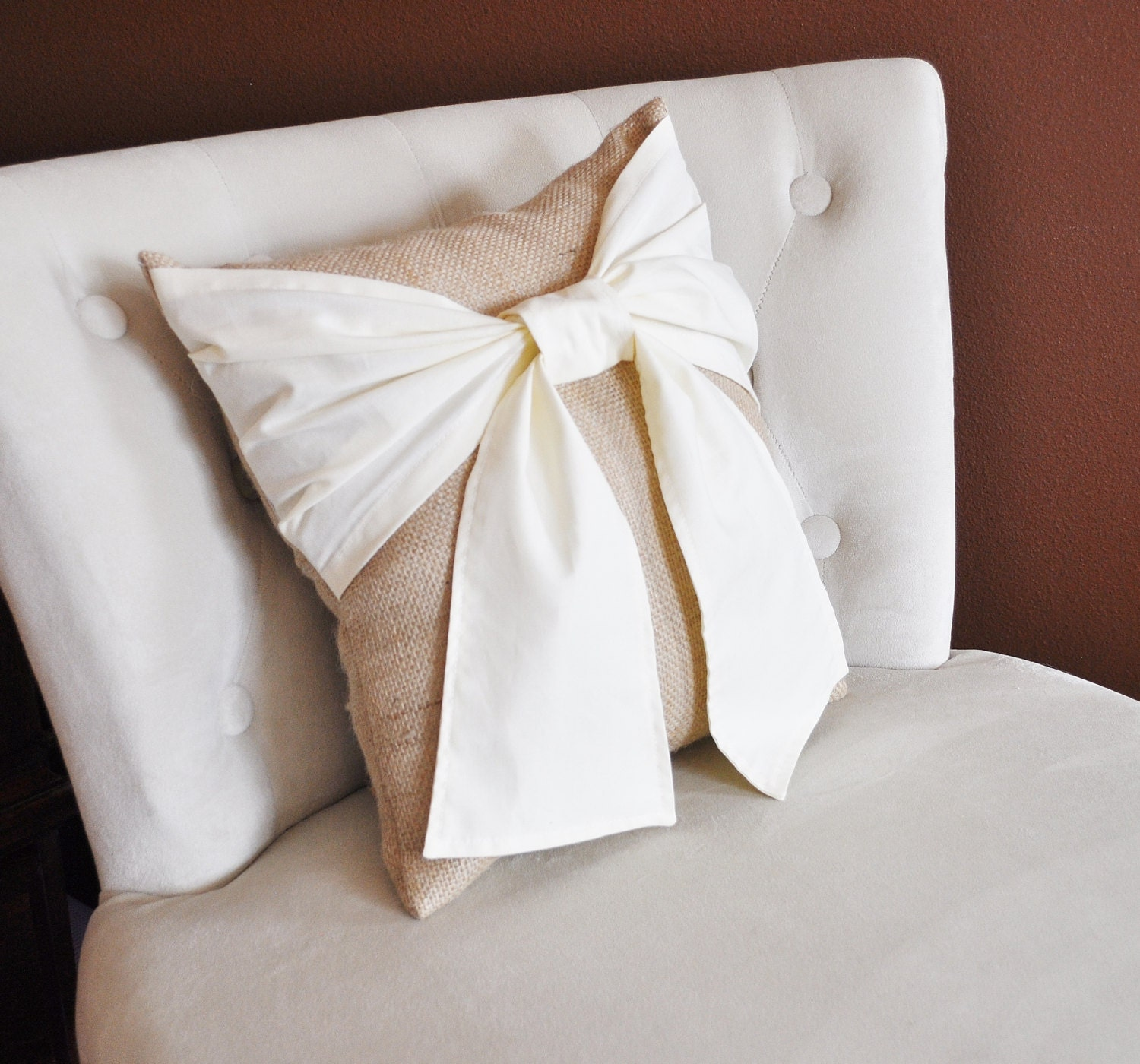 Burlap Throw Pillows Etsy : Throw Pillow Cream Bow on Burlap Rustic Pillow 14x14 Rustic