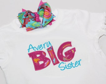 Personalized BIG Sister Shirt and Hairbow - You CHOOSE Fabric