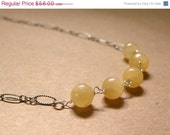 ON SALE OOAK  - Lemony Yellow Gemstone Beaded Wirewrapped Oxidized Sterling Silver Pendant Necklace   -  Lola