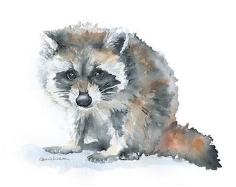 Raccoon Watercolor Painting Giclee Print 10 x 8 Nursery Art Woodland Animal Print - 11 x 8.5